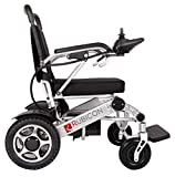 Rubicon Electric Power Wheelchair Scooter Fold & Travel Lightweight Folding Safe Electric Wheelchair Motorized Aviation Travel Heavy Duty Power Wheelchair (Silver)
