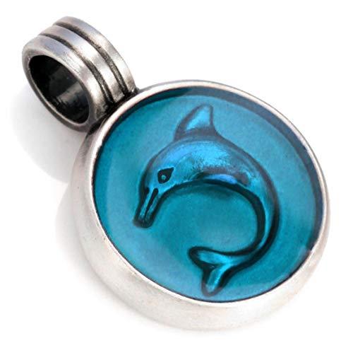 Bico Damen Delphin Anhänger (B20 Hellblau) - Erlösung und Freiheit - Farbiges Kunstharz und Metall