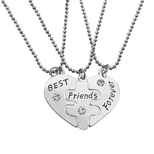 SwirlColor 3 Piezas / Paquete Iniciales de los Mejores Amigos los Pedazos del Rompecabezas del corazón cristalino de Plata Collar de la Amistad (Color: Plata)