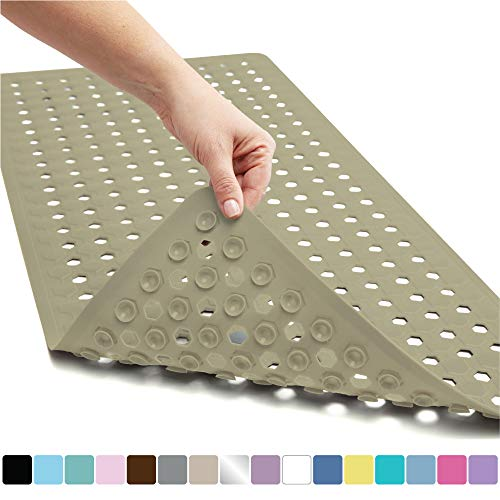 Gorilla Grip Original Patented Bath, Shower, Tub Mat, 35x16, Washable, Antibacterial, BPA, Latex, Phthalate Free, Bathtub Mats with Drain Holes, Suction Cups, XL Size Bathroom...