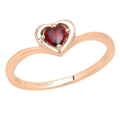 DazzlingRock Collection 14 quilates oro rosa corazón Red Garnet