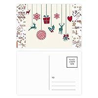 クリスマスのヘラジカの雪片心臓フェスティバル 公式ポストカードセットサンクスカード郵送側20個