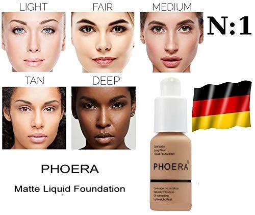 Base de maquillaje de PHOERA Cover impermeable corrector mejor que Dermacol de larga duración fuerte opacidad