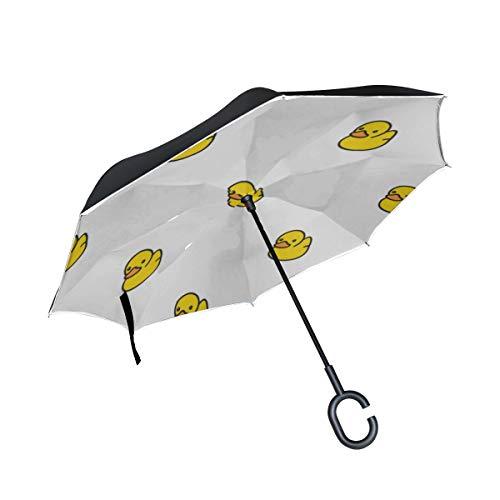 Double Layer Inverted Mens Umbrella Folding Rubber Duck Repeat Wallpaper Schal Folding Umbrella Umbrellas Inverted Windproof UV-Schutz für Regen mit C-förmigem Griff