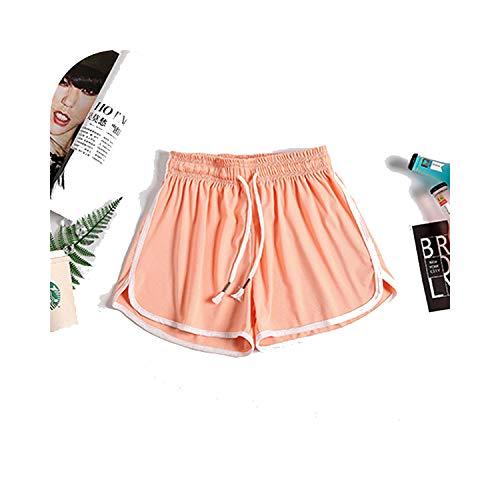 Summer Striped Cotton Plus Size Shorts Women Sexy Loose Elastic Waist Gym Running Korean Streetwear Short-Orange-S