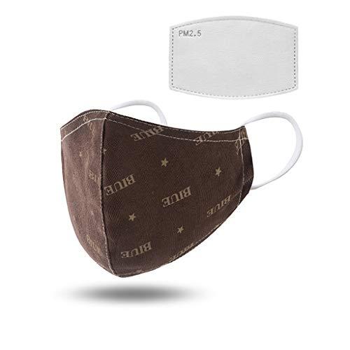 Waschbare mundschutz mit Filter, mundschutz wiederverwendbar Baumwolle Atmungsaktiv Gesichtsbedeckung Unisex mundschutz schwarz Verstellbarer Staubschutz für Laufen, Radfahren (B)