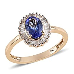 FEATURES: The featured Halo Ring masterpiece is expertly crafted in 9ct Yellow Gold and studded with Tanzanite and Diamond STYLISH DESIGN: This Gorgeous halo ring flaunts classy and timeless glamour. Perfect Engagement or Anniversary Ring. METAL AND ...