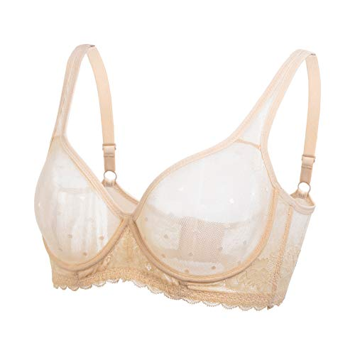 DHX Women's Sheer Mesh Bralette Unlined Lace See Through Plus Size Bra Full Coverage Unpadded Bras with Underwire Beige, 44A
