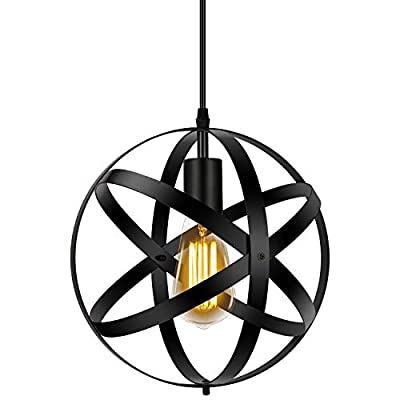 Industrial Pendant Light, Metal Spherical Changeable Hanging Light Fixtures, Vintage Globe Ceiling Light Fixture, Pendant Lighting for Kitchen Island Dining Room Farmhouse Hallway