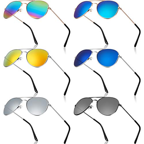 6 Pairs Kids Mirrored Sunglasses 70's Metal Mirror Sunglasses Eyeglasses with Metal Frame for Costume Party Supply