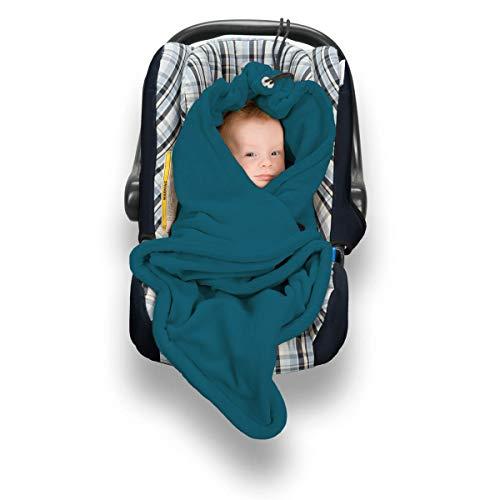 Hoppediz Fleece-Decke für 3 & 5 Punkt-Gurtsysteme Einschlagdecke für Babyschalen, petrol