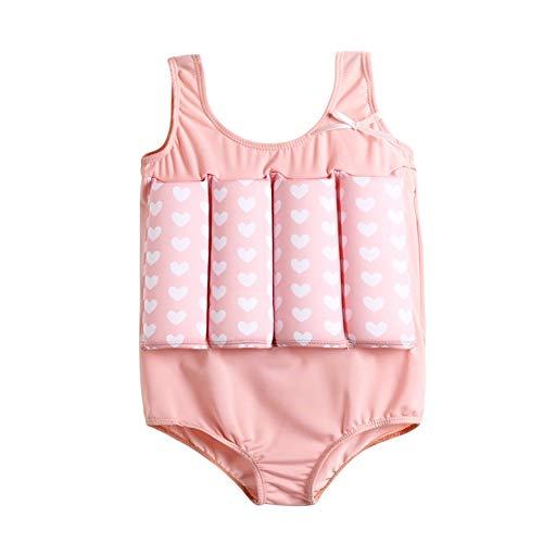 YAGATA Baby Mädchen Float Suit, Kinder Bojen-Badeanzug mit Herz-Motiv, Badeanzug mit Schwimmhilfe, Training Swimwear Bojenanzüge für Strand Baden Kleinkind/Kinder, Rosa, 130