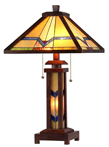 """Chloe Lighting CH33430WM15-DT3 Tiffany Alexander -Style Mission 3-Light Double Lit Wooden Table Lamp, 15"""" x 15"""" x 25.6"""""""