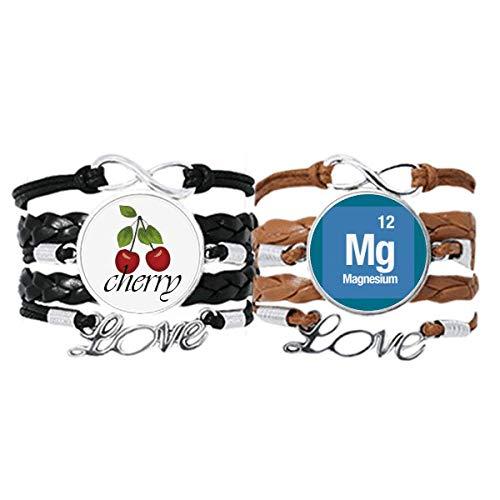 Bestchong Mg - Pulsera de magnesio con elementos químicos y correa para la mano y cuerda de cuero de cereza, juego doble