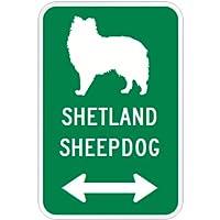 SHETLAND SHEEPDOG マグネットサイン グリーン:シェットランドシープドッグ(小) シルエットイラスト&矢印 英語標識デザイン Water