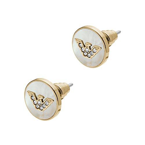 Emporio Armani Pendientes de mujer con acero inoxidable, cristal blanco redondo