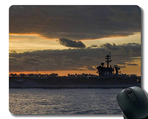 Yanteng Alfombrilla de ratón con Borde Cosido, portaequipajes USS Carl Vinson Warship Alfombrilla para ratón, Base de Goma Antideslizante
