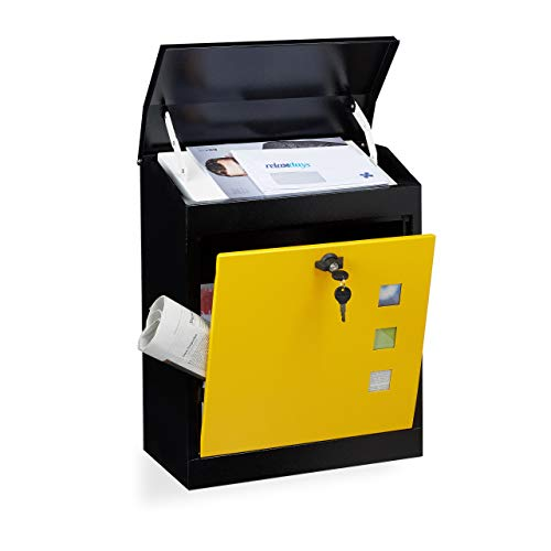 Relaxdays brievenbus groot, staal, veiligheidsklep, slot zwart-geel