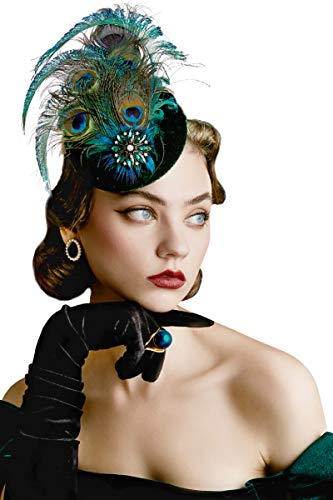 BABEYOND 1920s Flapper Fascinator Feather Pillbox Hat Fascinator for Tea Party (Peacock-5)