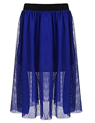 IN'VOLAND Women Plus Size Elastic Waist Ballet Layered Mesh Tulle Midi Skirt