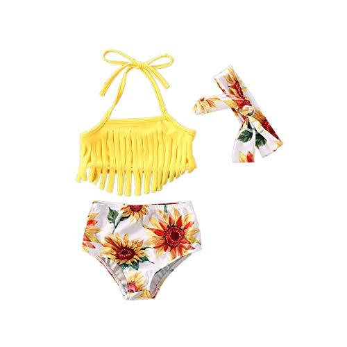 Toddler - Conjunto de 3 piezas para bebé y niña, sin mangas, halter crop top halter braguita bikinis set Bowknot diadema bañadores de verano para niños disfraz juego de ropa