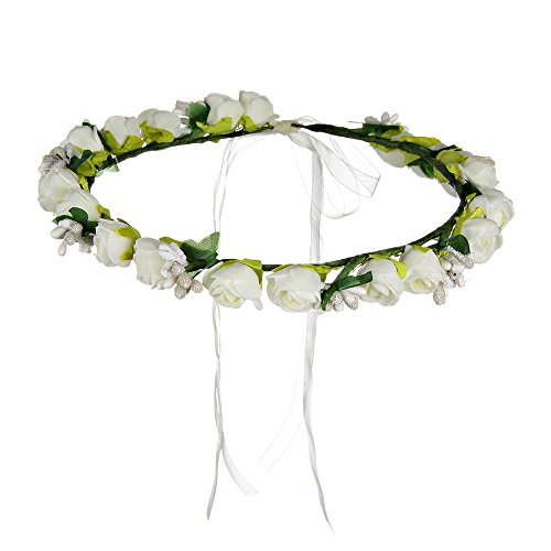 Winrembrandt Fashion Manmade Foam Paper Rose Flower Berry Leaf Flowers Wreath with Ribbon for Wedding Festival
