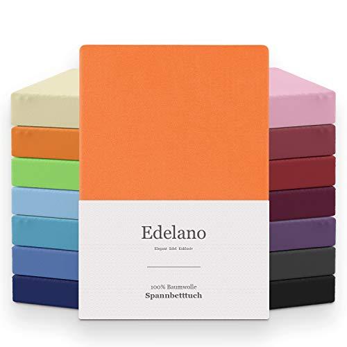 MELUNDA - Sábana Bajera Ajustable 180x200 / 200x200 cm - Naranja - 100% Algodón - Certificado Oeko-Tex® - Hipoalergénico Sin químicos