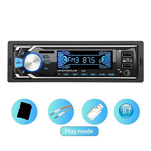 ASHATA MP3-autospeler, 12V universele auto Bluetooth MP3 handfree dubbele USB-auto-speler ingebouwde bluetooth 2 snel opladen USB + microfoon ondersteunen TF-kaart