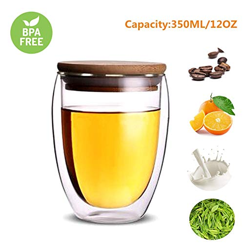 Glass coffee mugs, Double Wall Glass Coffee Tea Latte Cups with Bamboo Lid Perfect for Cappuccino, Latte, Macchiato, Tea, Juice, Milk, Iced Beverages (350ML/12OZ)