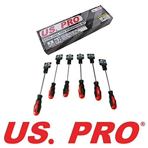 US PRO B1521 Schraubendreher-Satz, 6-teilig, extra lang, 250 mm, Torx T10-T30