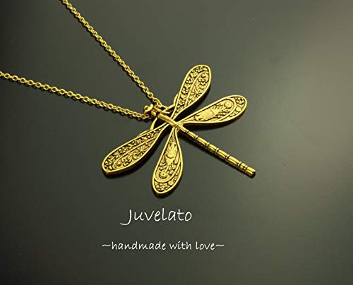 Kette Libelle Anhänger antik golden Juvelato