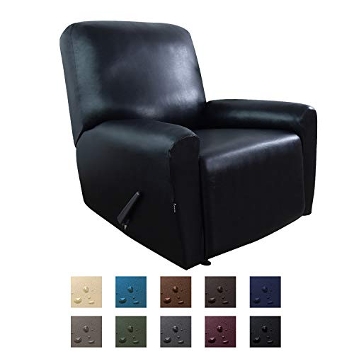 Easy-Going PU Leather Recliner slipcovers, Stretch Sofa Covers, 4 Pieces Stretch Furniture Protector, Elastic Strap Shield Pets Kids Children Cats Dogs(Recliner, Black)