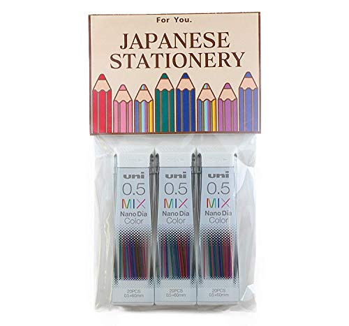 Uni Mechanical Pencil Lead Nano Dia 0.5mm, Color Mix, 20 leads x 3 Packs (Total 60 leads),MIYABI eraser set(05-202NDC-MIXx3/MIYABI Blue)
