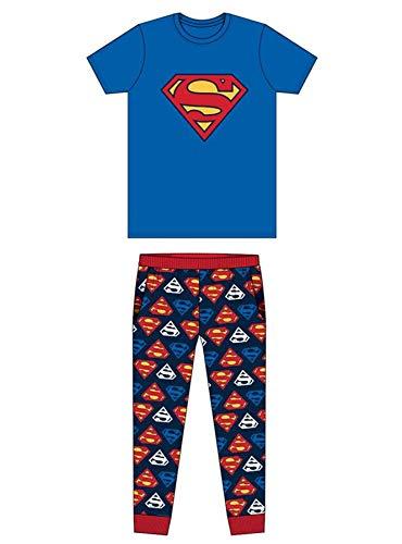 Herren-Schlafanzug aus Baumwolle, lang, Motiv: DC Marvel Star Wars Transformers, Harry Potter etc. Gr. S, Superman Blau/Marineblau