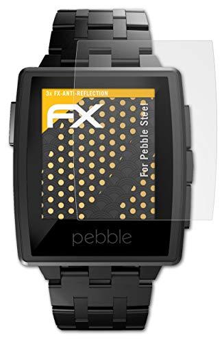 atFoliX Panzerfolie kompatibel mit Pebble Steel Schutzfolie, entspiegelnde & stoßdämpfende FX Folie (3X)