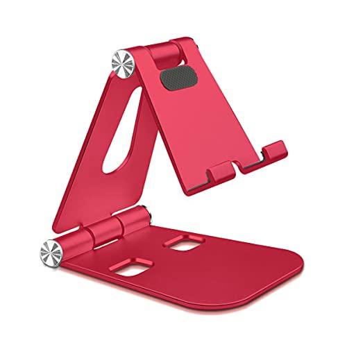 Mipcase Universale porta Tablet Supporto Telefono, Multi-Angolo Regolabile Supporto per Telefono, Supporto Portatile per iPhone 12  se 2020, Compatibile con Phone e Tablet [4-13 inch] (Rosso)
