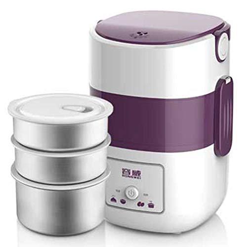 Elektrische Lunchbox Mini Reiskocher Edelstahl Innere Elektrische Lunchbox Lunchbox - (2L, Lila)