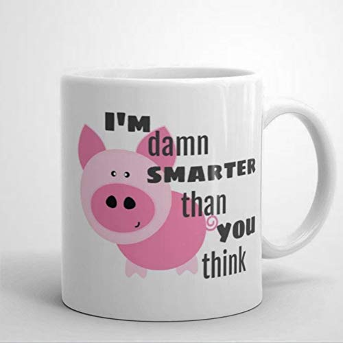 Divertidas tazas de café con texto en inglés 'Im Smarter Than You Think Pig Presente, regalo para amantes de las mascotas con citas divertidas de cerámica de 325 ml