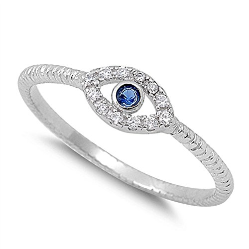 Evil Eye Blue Simulated Sapphire Polished Ring New .925 Sterling Silver Band Size 5