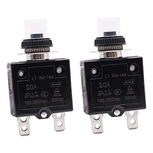 mxuteuk 2Pcs 20Amp Circuit Breakers Push Button Manual Reset 125/250V AC 50V DC, L1 Series Overload Protector Switch Thermal Circuit Breakers with Waterproof Button Caps L1-cj-20A
