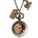 ZJZ Reloj de Bolsillo Retro Reloj de Bolsillo de Bronce para Bebidas con Colgante de Collar de Cadena Regalo de Alice Walk in Wonderland