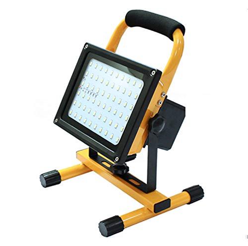 EFGS Lampe Chantier 100W Super Lumineuse, Projecteur LED Torche Portable et Rechargeable pour Ouvrier, Bricoleur, Tourneur et Travailleur (Jaune)
