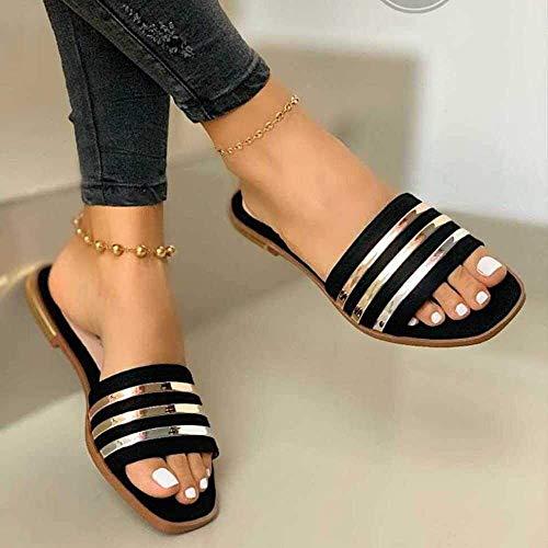 KKGASSAB Mujeres/Hombre en Zapatillas Soft Nonslip, Summer Cómodo Zapatos Planos, Hueco Outdoor Wearblack_6.5, Zapatillas de Caminatas Antideslizantes (Color : Black, Size : 5)