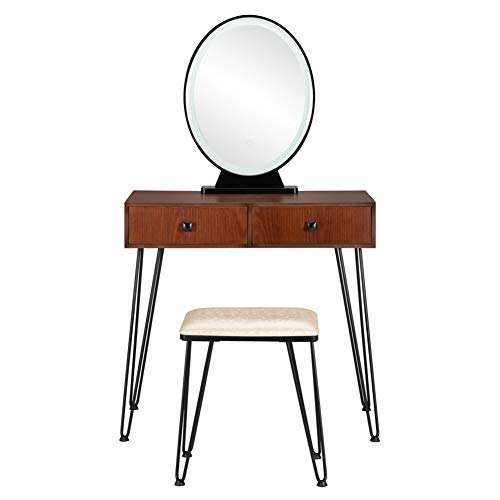 HM&DX Vanity Makeup Table Set with Touch Screen,Wood Dressing Table Lighted Mirror Drawers,Vanity Dresser Desk Bedroom