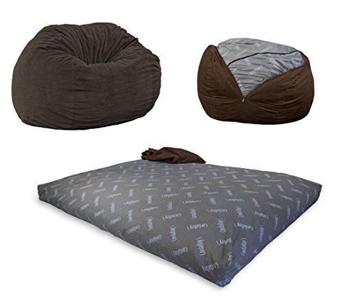 CordaRoy's Chenille Bean Bag Chair, Convertible Chair Folds from Bean Bag to Bed, As Seen on Shark Tank, Espresso - Full Size