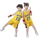 Camiseta 23# para niños, camiseta de verano de Bulls Jordan# 23 / Lakers James# 23 como, camiseta de verano para niños y niñas, 123, amarillo, S(130