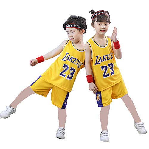Camiseta 23# para niños, camiseta de verano de Bulls Jordan# 23 / Lakers James# 23 como, camiseta de verano para niños y niñas, 123, amarillo, L(150