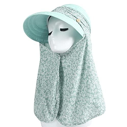 Sombrero cordobes mujer,2021 verano protector solar sol sombrero femenino ciclo al aire libre cubierta protectora cara sombrero solar sombrero grande tomando té sombrero dama-agua verde_Código