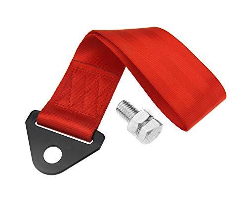 The Lord of the Tools Cuerda de remolque de recuperación de nailon correa de remolque universal con tornillo resistente para coche vehículo auto rojo 25 cm x 5 cm