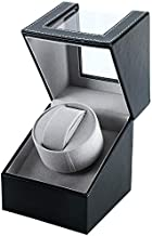 Homend Single Watch Winder in Black Leather, Quiet Japanese Mabuchi Motor, Battery (not Included) Powered or AC Adapter